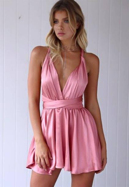 dress pink dress satin short dress prom dress date dress satin dress