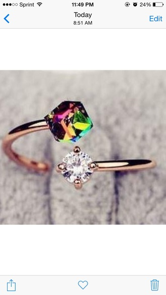 jewels diamonds gold ring multicolor