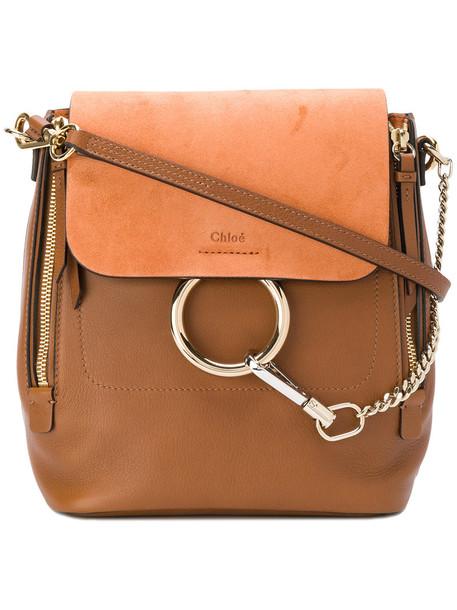 Chloe women backpack leather suede brown bag