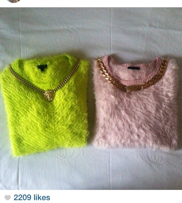 sweater sweater neon fluffy bright pastel pink jewels