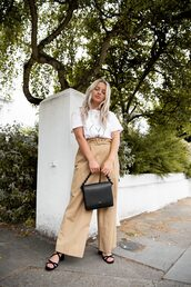 pants,high waisted,sandals,black bag,wide-leg pants