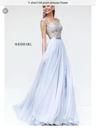 dress sherri hill blue prom dress lace prom dress