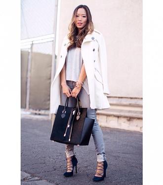 denim tank top jeans top shoes bag coat grey lace up lace up heels tote bag winter coat pea coat