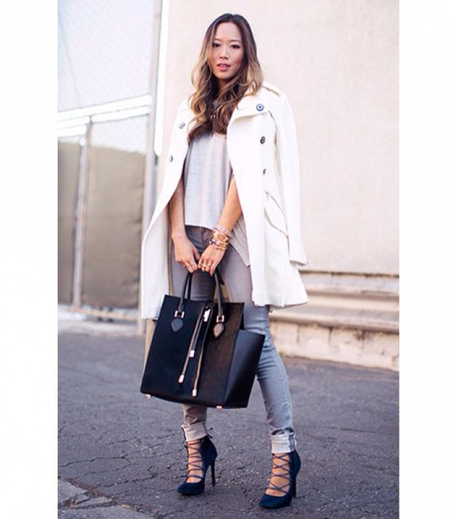 bag tote bag jeans grey top shoes lace up lace up heels denim tank top coat winter coat