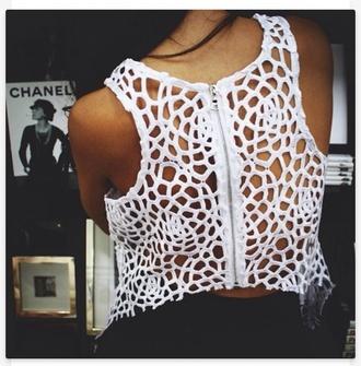 shirt white shirt crop tops see through zip back