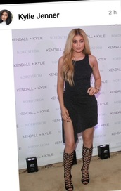 shoes,black dress,heels,sandals,slit dress,gladiators,knee high gladiator sandals,kylie jenner