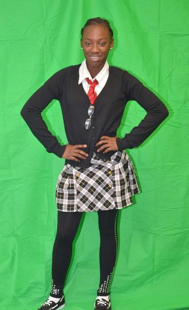 Skirt preppy school girl black white red tie for Black studs for dress shirt