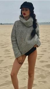sweater,grey,grey sweater,maggielindemann,beach
