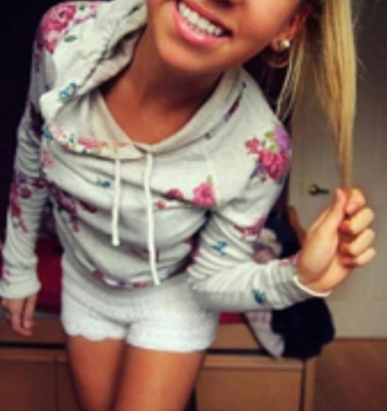 shorts lace shorts floral jacket hoodie grey roses white shorts sweater