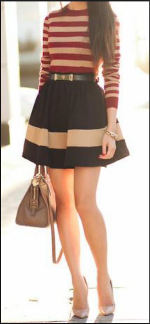 skirt girly chic cute vintage jupe jupe bleue skater skirt flared skater skirt flare skirt cute skirt stripes black white striped skirt classy mini skirt