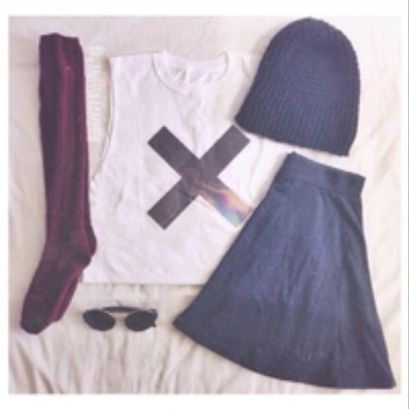 skirt circle skirt shirt muscle shirt knee high socks beanie sunglasses the xx