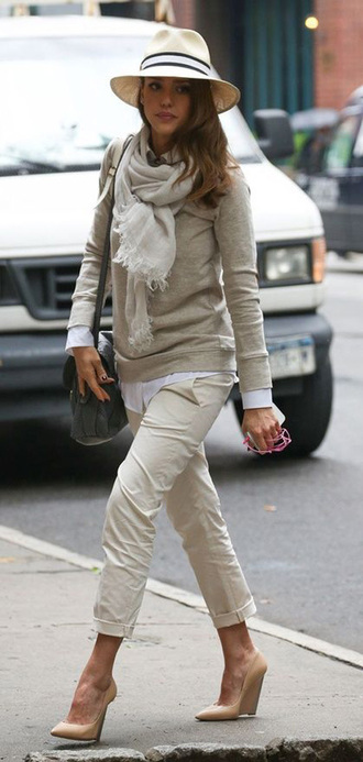 pants sweater jessica alba scarf hat