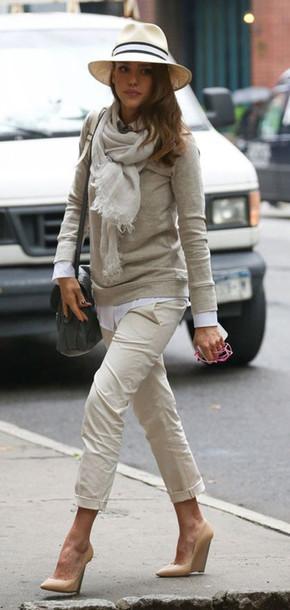 pants sweater jessica alba scarf hat