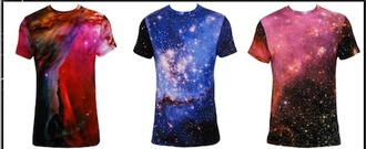 print casual galaxy print t-shirt space blue t-shirt red t-shirt black t-shirt white t-shirt purple t-shirt top