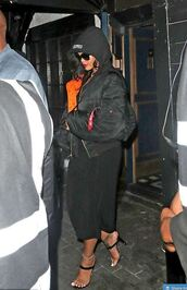 jacket,sandals,rihanna,rihanna style,bomber jacket,sandal heels,celebrity,all black everything