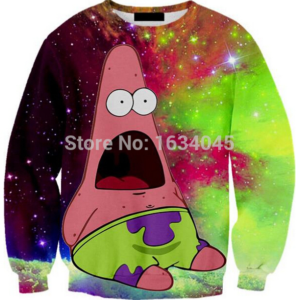 Iswag brand galax patrick star harajuku style elegant 3d sweatshirts thin couple clothes sweatshirt pullovers