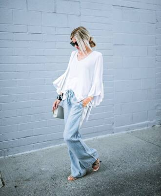 top tumblr white top bell sleeves denim jeans blue jeans sandals flat sandals shoes