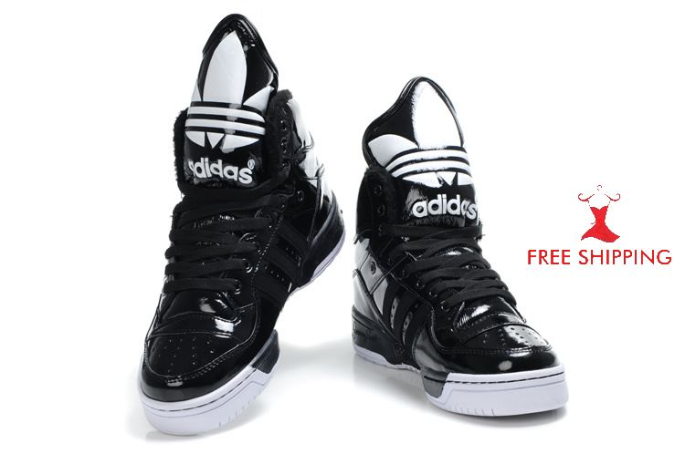 ADIDAS Big Tongue Sneakers Fur Lining Jeremy Scott Black