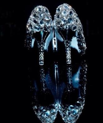 shoes cinderella high heels heels crystal glass heals