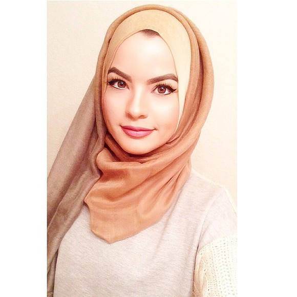 ombre scarf muslimah muslim muslim outfit hijab girly light brown make-up beige