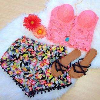 shorts pom pom shorts tropical bright colored bright colours black cute bright top shoes pom poms dress