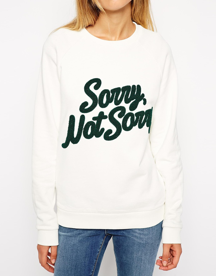 ASOS Sweatshirt with Towelling Sorry Not Sorry at asos.com