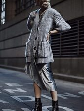 happily grey,blogger,dress,sweater,shoes,jewels,fall outfits,cardigan,grey cardigan,metallic dress,ankle boots,boots
