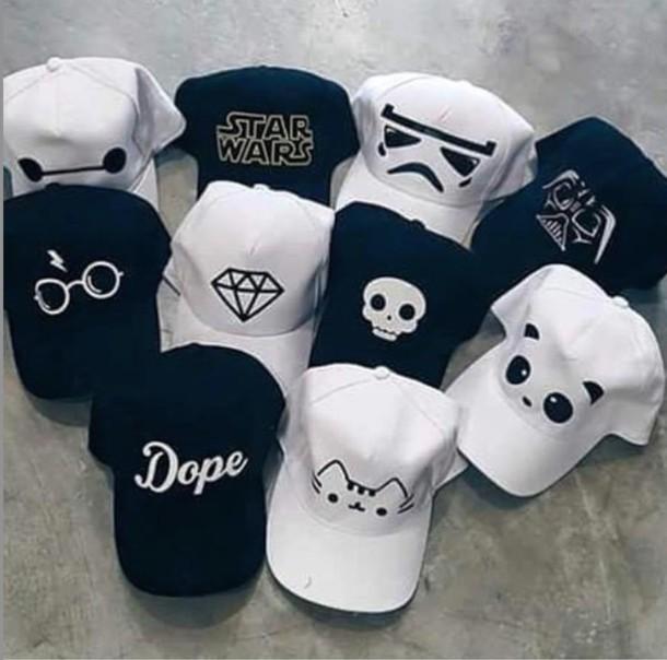 panda baseball hat diamonds skull hipster dope white black cap bear giants
