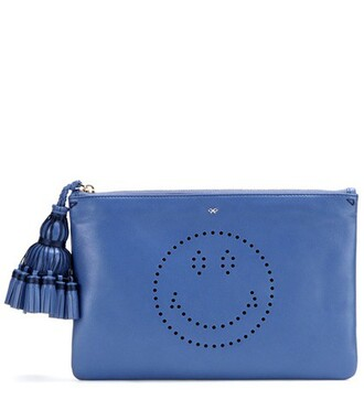 leather clutch smiley clutch leather blue bag