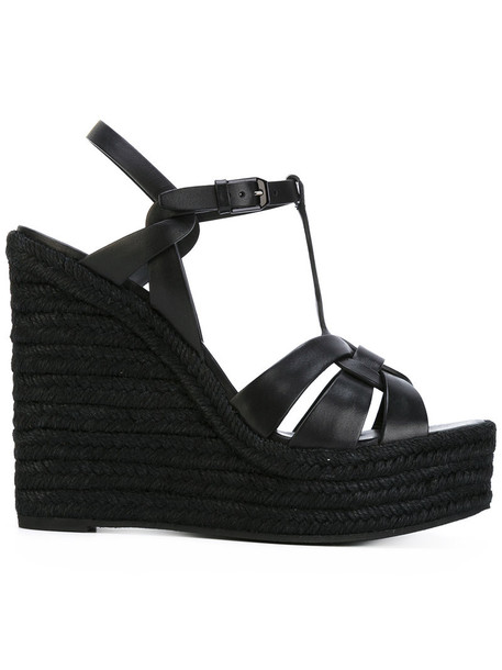Saint Laurent women sandals wedge sandals leather black shoes