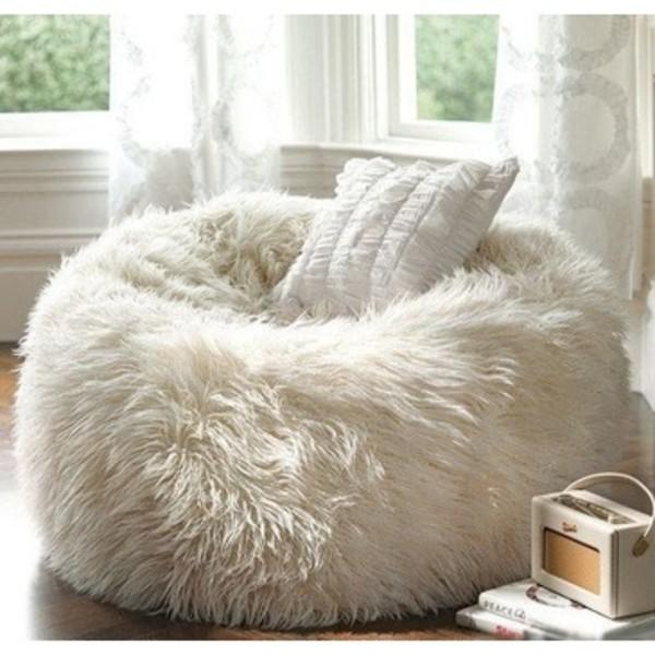 bag fur beanbag home accessory white bean bag pillow home decor cozy