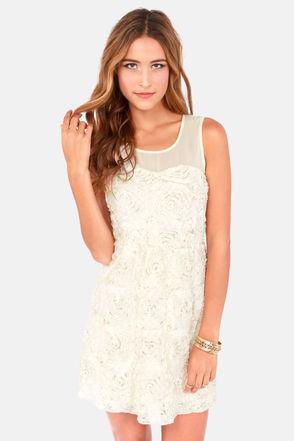 Cute Cream Dress - Sleeveless Dress - Silk Dress - $45.00