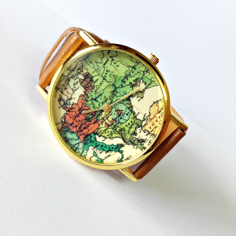 Map Watch , Vintage Style Leather Watch, Women Watches, Unisex Watch, Boyfriend Watch, Tan