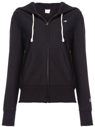 hoodie zip women classic cotton black sweater