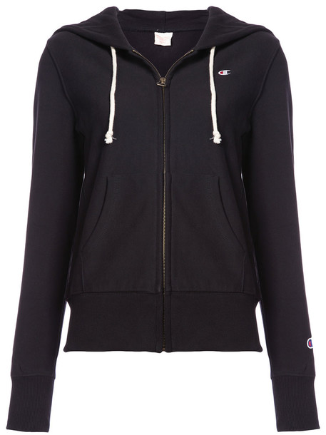 Champion - classic zip hoodie - women - Cotton/Polyester - S, Black, Cotton/Polyester