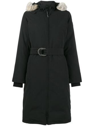 parka fur fox women cotton black coat