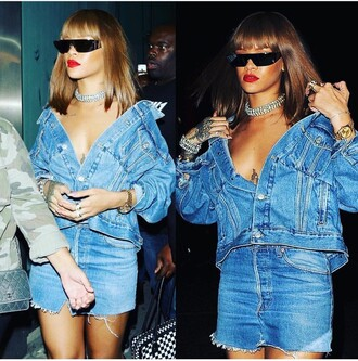 top rihanna denim jacket denim skirt blue off the shoulder