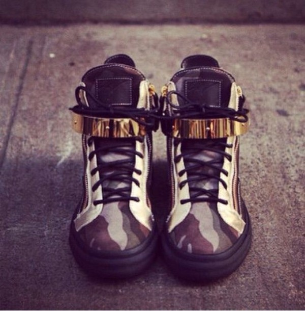 shoes boots camouflage camouflage gold