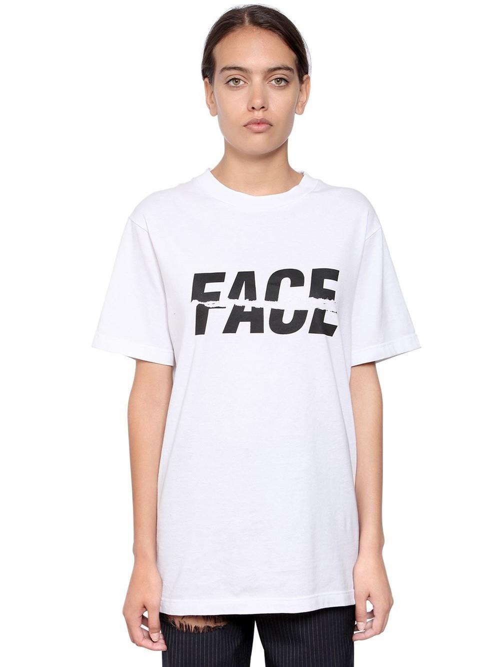 FACETASM Logo Print Cotton Jersey T-shirt in white