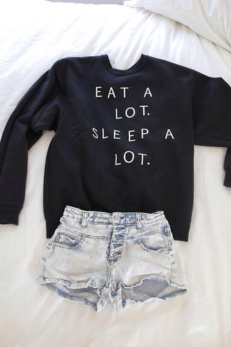 sweater black sweater eat a lot sleep a lot