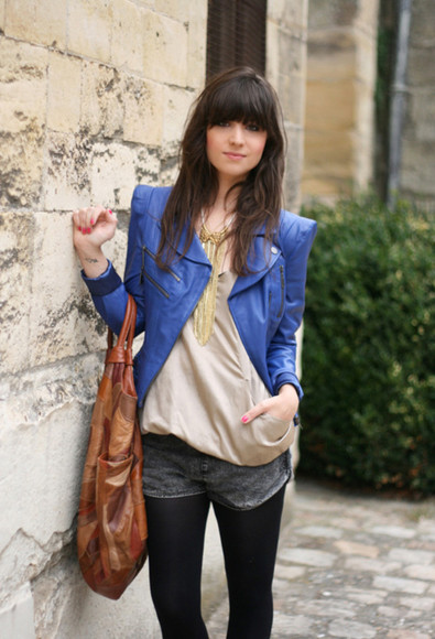 blue jacket perfecto leather jacket betty jewels shirt shorts