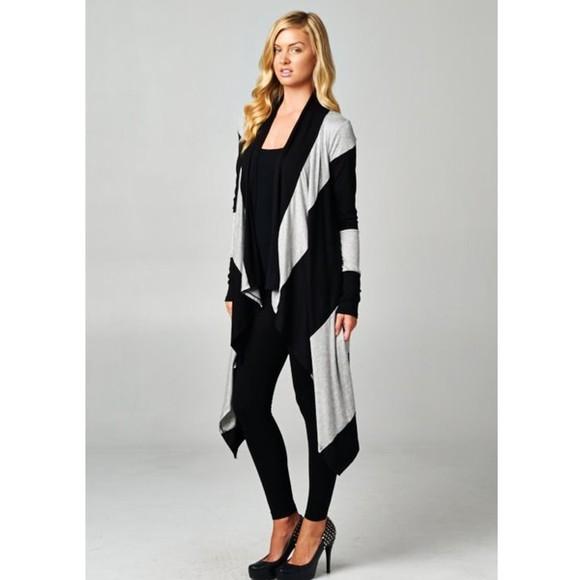 asymmetrical black cardigan colorblock grey sweater grey long sleeves maxi maxi cardi