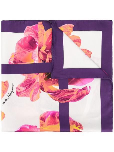 women scarf floral print silk purple pink