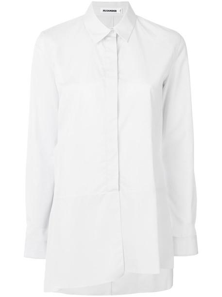 Jil Sander - asymmetric hem shirt - women - Cotton - 34, White, Cotton