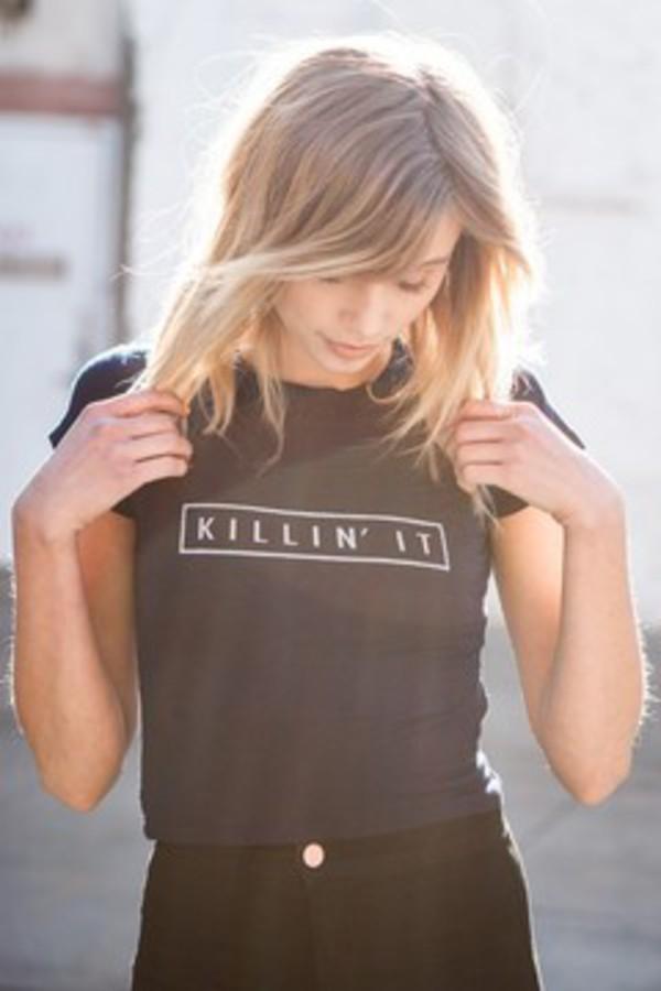 t-shirt black top killin it