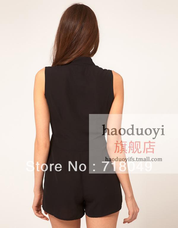 2013 Summer New Women Bow Tie V neck High Waist Sleeveless Solid Chiffon Jumpsuit Shorts Free Shipping 3 Colors 6 Sizes XS 3XL-inJumpsuits & Rompers from Apparel & Accessories on Aliexpress.com