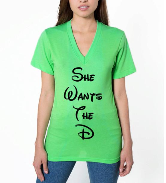 d3e08a340 t-shirt, neon green, she wants the d, v neck, plunge v neck, v neck ...