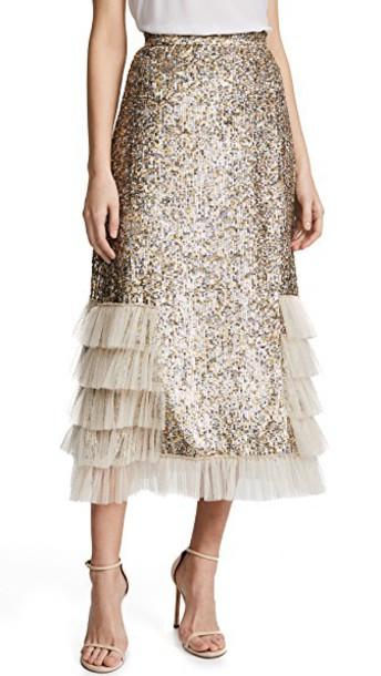 Rodarte skirt metallic ruffle gold silver