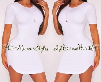 dress white shirt shirtdress rounded roundedhem hem curved curvedhem cap capsleeves sleeves blogger bloggerfashion kylie jenner short short dress party party dress free sexy tight curvy cute cute dress pretty sexy dress tight dresses white dress