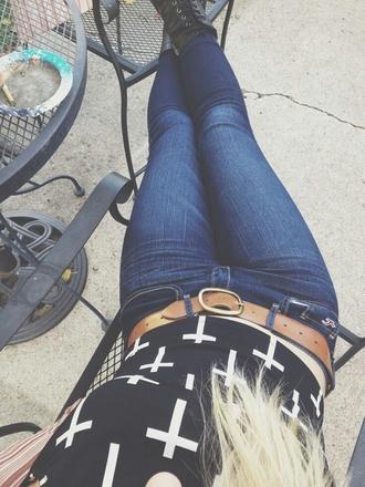shirt cross black white dark jeans denim